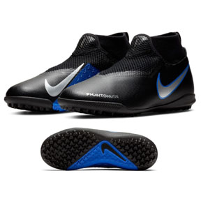 Nike Youth  Phantom Vision Academy DF Turf Soccer Shoes (Black/Blue)
