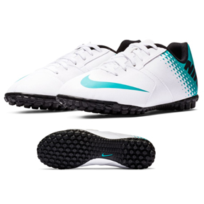 Nike Youth Bomba Turf Soccer Shoes (White/Blue Lagoon/Black)