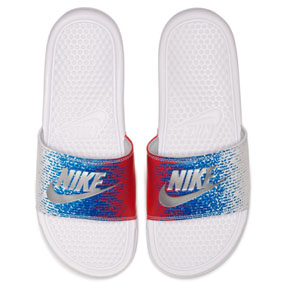 Nike Benassi Just Do It Soccer Sandal / Slide (White/Blue/Red)