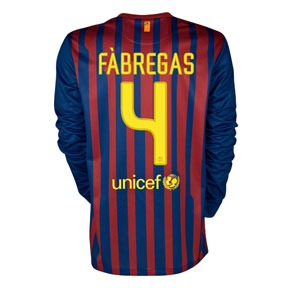 Nike Barcelona Fabregas #4 LS Soccer Jersey (Home 11/12)