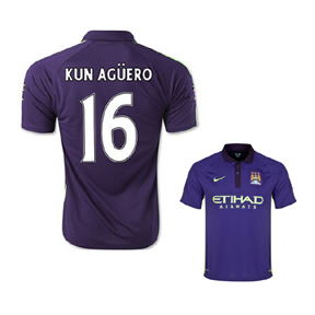 Nike Youth Manchester City Aguero #16 Soccer Jersey (3rd 14/15)