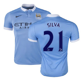 Nike Manchester City Silva #21 Soccer Jersey (Home 15/16)