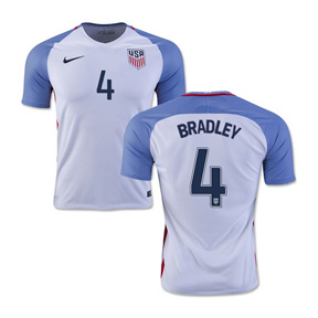 Nike Youth  USA  Bradley #4 Soccer Jersey (Home 16/17)