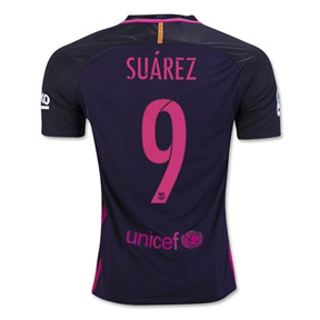 Nike Youth Barcelona  Suarez #9 Soccer Jersey (Away 16/17)
