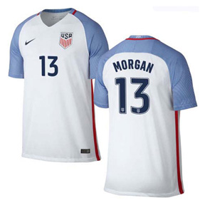 Nike USA  Alex Morgan #13 Mens Soccer Jersey (Home 16/17)