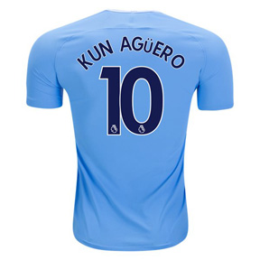 Nike Youth  Manchester City Aguero #10 Soccer Jersey (Home 17/18)
