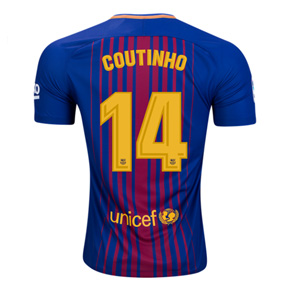 Nike Youth Barcelona Coutinho #14 Soccer Jersey (Home 17/18)