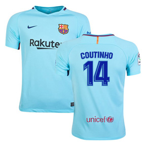 Nike Youth Barcelona Coutinho #14 Soccer Jersey (Away 17/18)