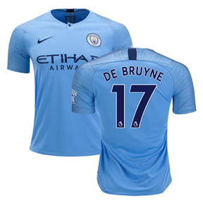 Nike Youth  Manchester City De Bruyne #17 Soccer Jersey (Home 18/19)