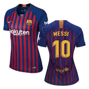 Nike Womens  Barcelona Lionel Messi #10 Soccer Jersey (Home 18/19)
