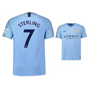 eadb8fd2d85 Nike Youth Manchester City Sterling  7 Soccer Jersey (Home 18 19 ...