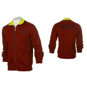 Nike Barcelona Authentic N98 Soccer Track Top (Team Red/Yellow)