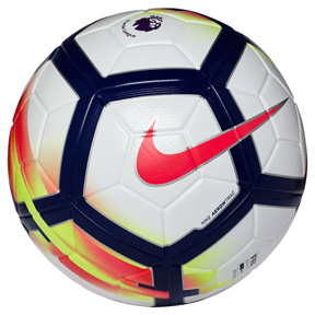 Nike  Ordem  V Premier League Match Soccer Ball (White/Crimson)