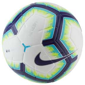 Nike  Merlin Premier League Match Soccer Ball (White/Blue/Purple)