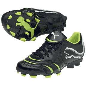 Puma Youth Powercat 4.10 FG Soccer Shoes (Black/Lime)