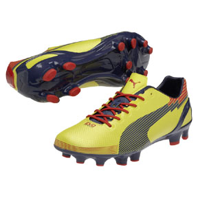 Puma evoSpeed 1 Graphic FG Soccer Shoes (Blaze Yellow/Scarlet)