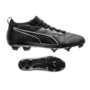 Puma  ONE 3 Leather FG Soccer Shoes (Black/Black)