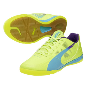 Puma evoSpeed Sala Indoor Soccer Shoes (Fluro Yellow/Blue)