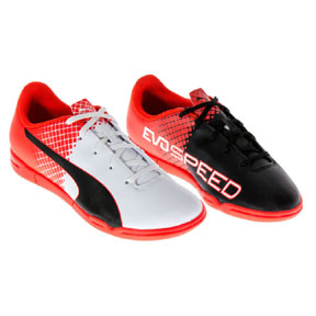 Puma Youth evoSPEED  5.5 IT Indoor Soccer Shoes (White/Black/Red)