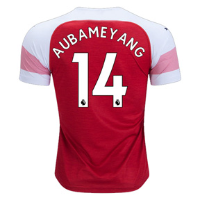 Puma Youth Arsenal  Aubameyang #14 Soccer Jersey (Home 18/19)