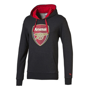 Puma Arsenal Crest Fan Soccer Hoody (Dark Gray)