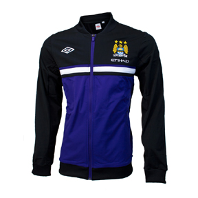 Umbro Manchester City Knit Soccer Jacket (Black/Deep Wisteria)