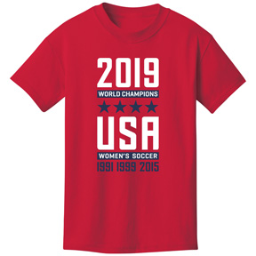 Utopia USA USWNT 4 Star World Cup Champions Tee (Red 2019)