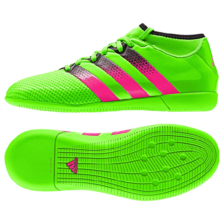 94c8e1260 adidas Youth ACE 16.3 PrimeMesh Indoor Soccer Shoes (Solar Green ...