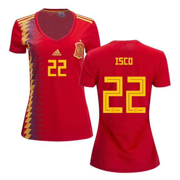 62ef54034 adidas Womens Spain Isco  22 World Cup 2018 Jersey (Home ...