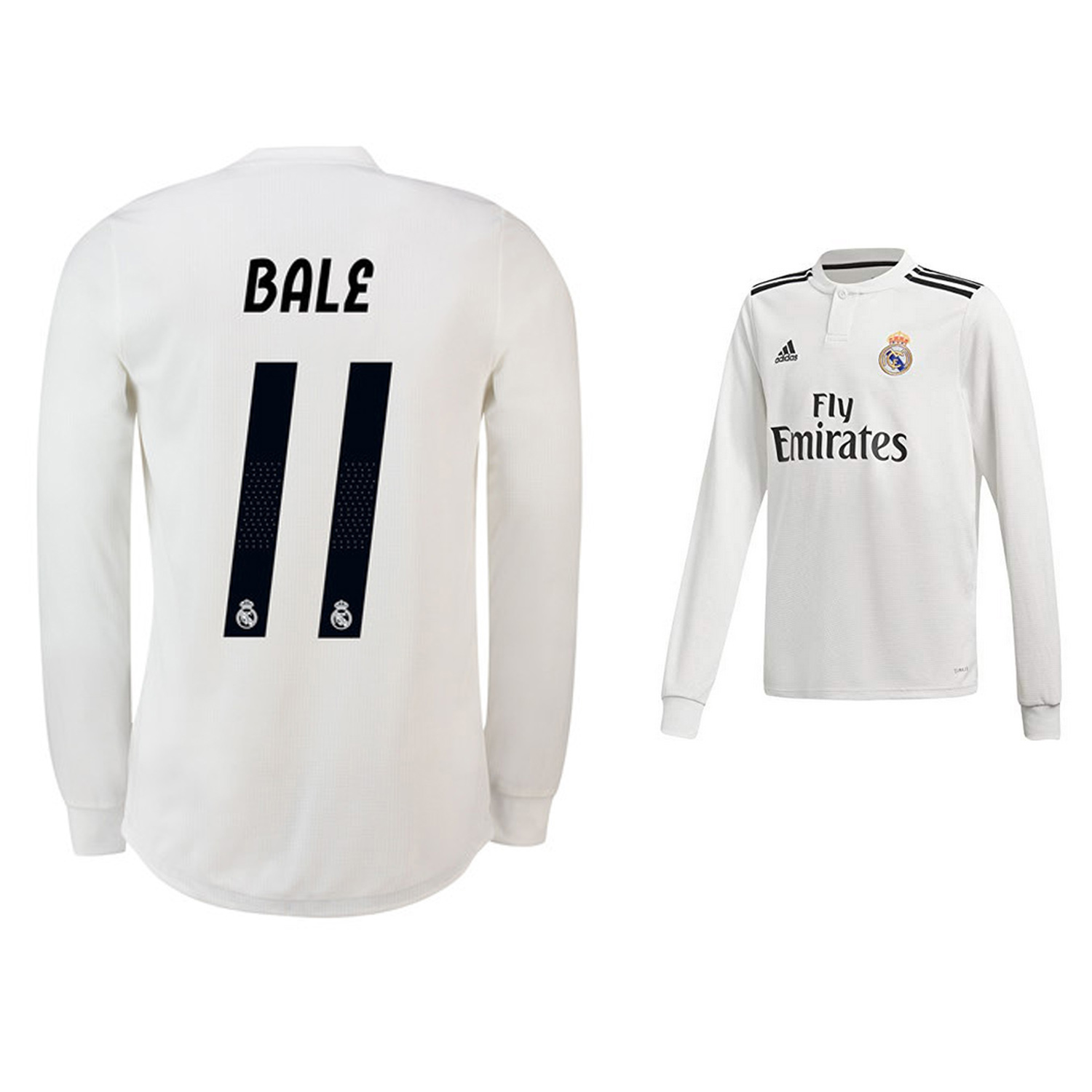 3e88f1076 adidas Youth Real Madrid Bale  11 Long Sleeve Jersey (Home 18 19 ...