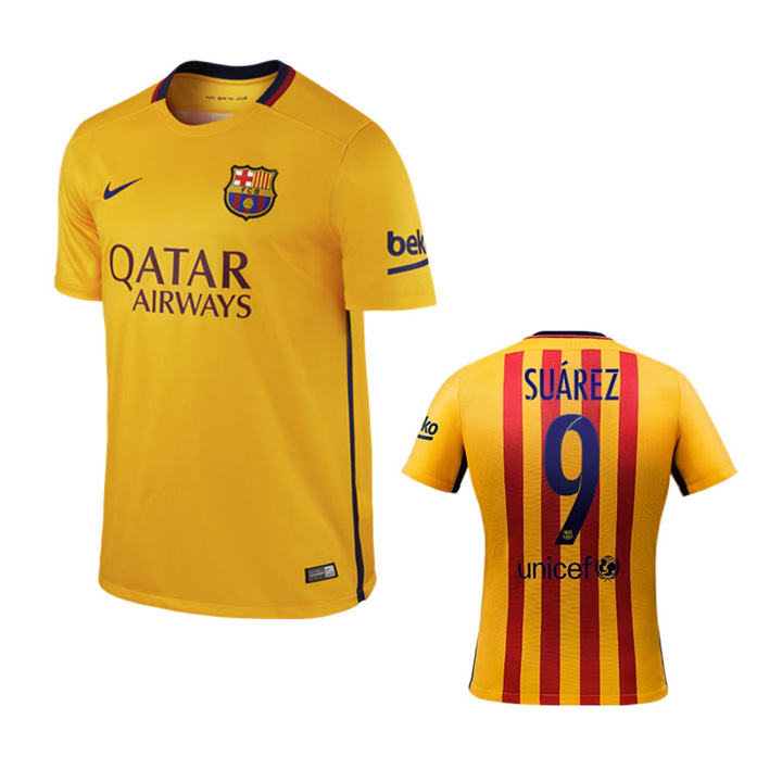 1805a3f4d4b Nike Barcelona Suarez  9 Soccer Jersey (Away 15 16)   SoccerEvolution