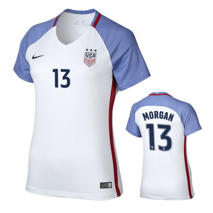 d381e1561 Nike Womens USA Alex Morgan  13 Player Cut Jersey (Home 16 17 ...