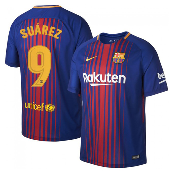 Nike barcelona suarez 9 soccer jersey home 17 18 for Unique home stays jersey