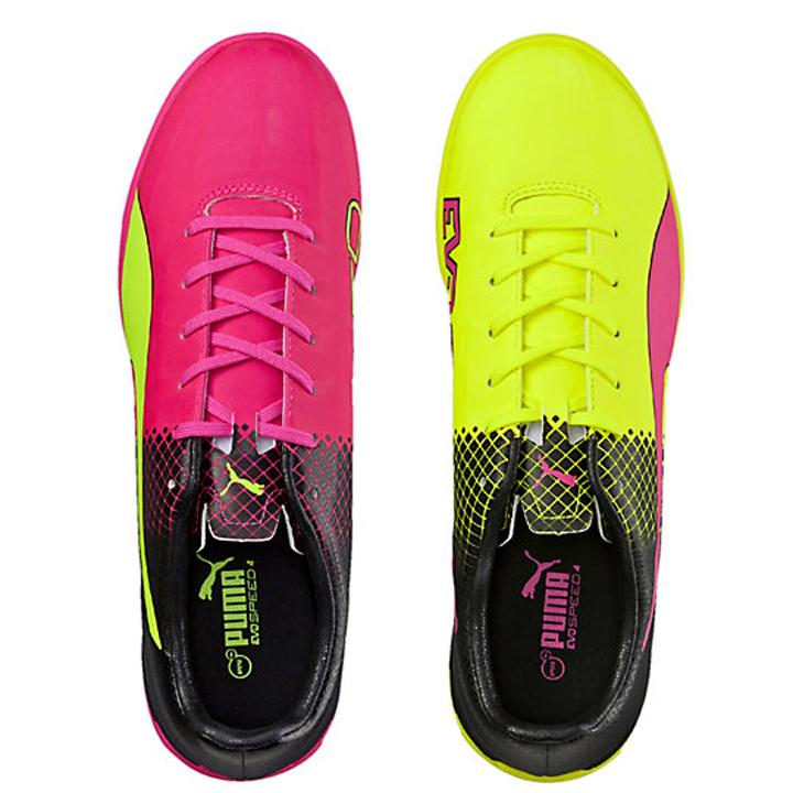 636b8cb4b Puma evoSPEED 4.5 Tricks IT Indoor Soccer Shoes (Pink Glo/Yellow ...