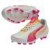 Puma Womens evoSpeed 5.2 FG Soccer Shoes (White/Pink)